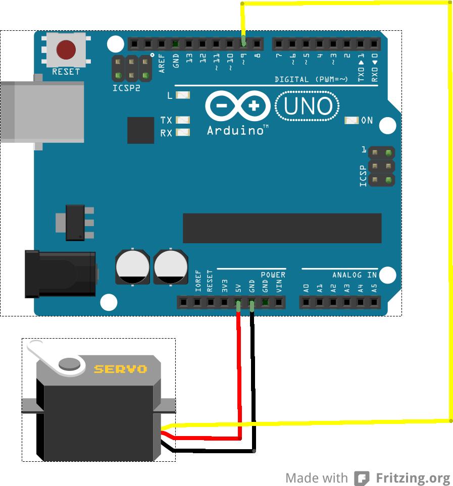 Schéma připojení serva k Arduinu